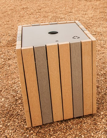 Wood-Grain Recycling Receptacle